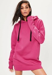 Missguided Pink Eyelet Fleeceback Hooded Sweater Dress