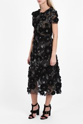 Marchesa 3D Embroidered Tulle Cocktail Dress Black