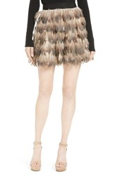 Alice Olivia Women's Cina Genuine Feather Miniskirt