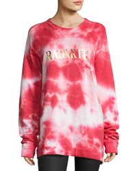 Rodarte Radarte Tie Dye Sweatshirt Red Pattern Red Patterned