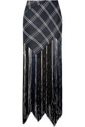 Proenza Schouler Fringed Plaid Basketweave Canvas Maxi Skirt Blue