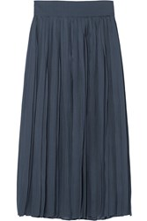 Iris And Ink Gigi Plisse Sateen Midi Skirt Blue