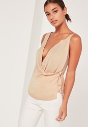 Missguided Satin Wrap Cami Nude Beige