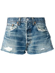 Re Done Distressed Denim Shorts Blue