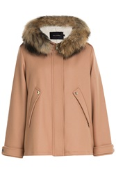 Tara Jarmon Wool Blend Jacket With Fur Trimmed Hood Rose