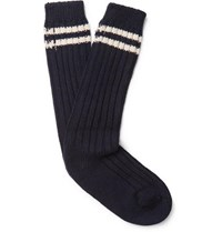 The Elder Statesman Yosemite Striped Ribbed Cashmere Socks Navy