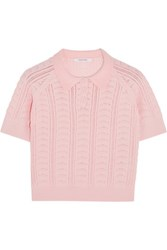 Carven Pointelle Knit Cotton Blend Top Baby Pink