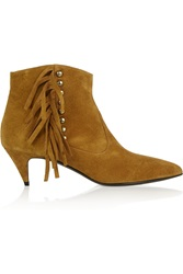 Saint Laurent Fringed Studded Suede Ankle Boots Brown