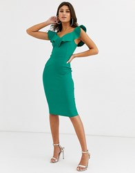Vesper Bodycon Dress With Sweetheart Neckline With Frill In Emerald Green
