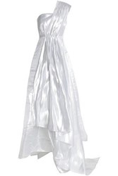 Safiyaa One Shoulder Paneled Printed Taffeta Gown Silver