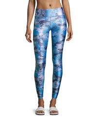Terez Tall Waistband Printed Performance Leggings Blue Pattern