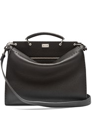 Fendi Peekaboo Grained Leather Briefcase Black