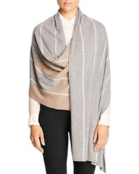 Magaschoni Cashmere Blend Color Block Shawl Silver Mouline Manor House Stone