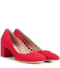 Chloe Lauren Suede Pumps Red