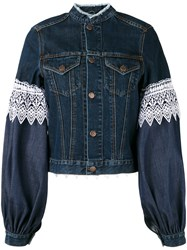Forte Couture Athos Lace And Denim Jacket Women Cotton Polyester 42 Blue