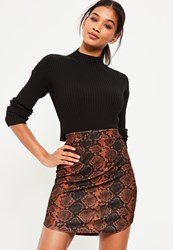 Missguided Brown Snake Print Curve Hem Crepe Mini Skirt Multi