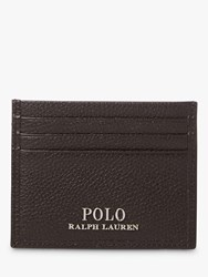 Ralph Lauren Polo Pebble Leather Card Holder Dark Brown