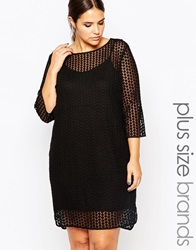 Carmakoma Sheer Overlay Shift Dress Black