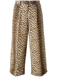 P.A.R.O.S.H. Leopard Print Cropped Trousers Nude Neutrals