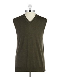 Black Brown Merino Wool Vest Dark Olive