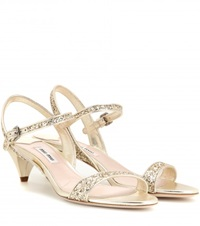 Miu Miu Glitter Embellished Kitten Heel Sandals Gold