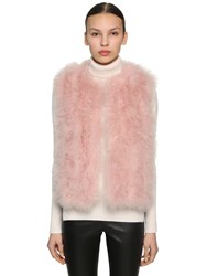 Yves Salomon Feather Vest Pink