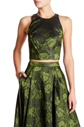 Alice Olivia Joel Strappy Back Embroidered Crop Tank Green