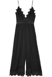 Zimmermann Tropicale Lace Trimmed Crinkled Silk Georgette Jumpsuit Black