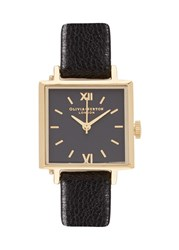 Olivia Burton Square Dials Gold Plated Watch Black