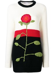 Red Valentino Crochet Flower Jumper White