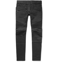 Balmain Skinny Fit Denim Biker Jeans Black