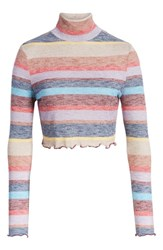 Love Fire Stripe Mock Neck Top Rainbow Stripe