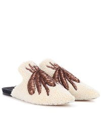 Sanayi 313 Ragno Embroidered Wool Slippers White
