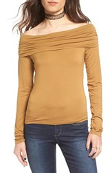 Women's Bp. Off The Shoulder Top Brown Cattail