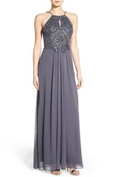 Blondie Nites Women's 'Kimmie' Embellished Open Back Halter Gown Charcoal