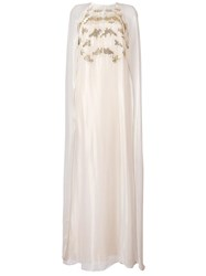 Oscar De La Renta Embroidered Kaftan Gown Metallic