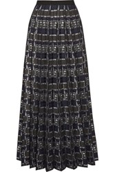Marc Jacobs Pleated Metallic Jacquard Maxi Skirt Navy