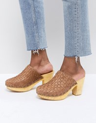 Free People Adelaide Woven Leather Clogs Brown