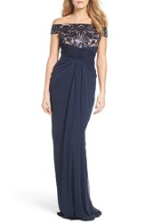 Adrianna Papell Women's Sequin Lace And Tulle Gown Navy Rose Gold