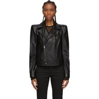 Saint Laurent Black Leather Wide Shoulders Motorcycle Jacket