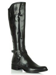 Daniel Idil Knee Length Flat Boots Black Leather