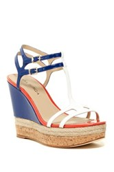 Via Spiga Meza Leather Dual Ankle Strap Platform Wedge Multi