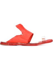 Officine Creative Raw Cut Flat Sandals Red
