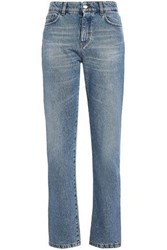 Versus By Versace High Rise Straight Leg Jeans Mid Denim