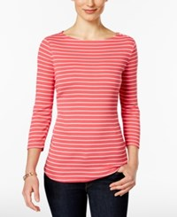 Charter Club Striped Boat Neck Top Only At Macy's Crushed Coral Combo