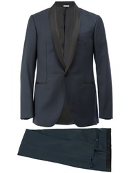 Lanvin Single Breasted Tuxedo Suit Silk Polyester Cupro Wool Blue