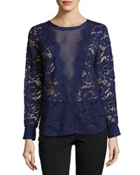 Neiman Marcus Lace Center Mesh Long Sleeve Top Navy