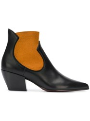 Deimille Two Tone Ankle Boots Black