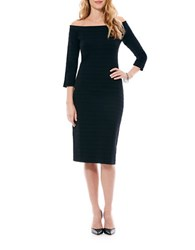 Laundry By Shelli Segal Off The Shoulder Bandage Body Con Sweater Dress Black