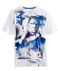 Sean John Men's Street Art Graphic Print V Neck T Shirt White